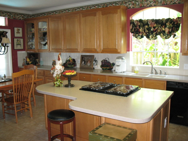 Restained cabinets, Changed wall color and restained cabinets, Kitchens Design