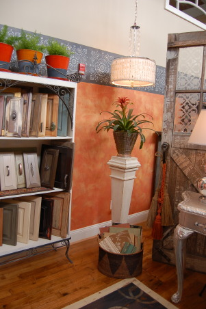 19th Century Eclectic Studio, My faux-finishing studio in a beautifully restored 19th-century flannel factory., I showcase cabinet floor and wall samples in this area., Living Rooms Design