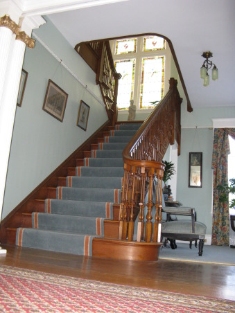 "The foyer, stairway and parlor to heaven, Last winters project was to repair and paint The entrance foyer parlor and stairway. Mary Anne chose all the colors made the curtains gave me the paint and uhpolstery fabric and said ""get to it monkey boy."", stairway from the foyer. What can I say. A classic Victorian stairway. The floors and stairway are quarter sawn oak    , Entryways & Halls"