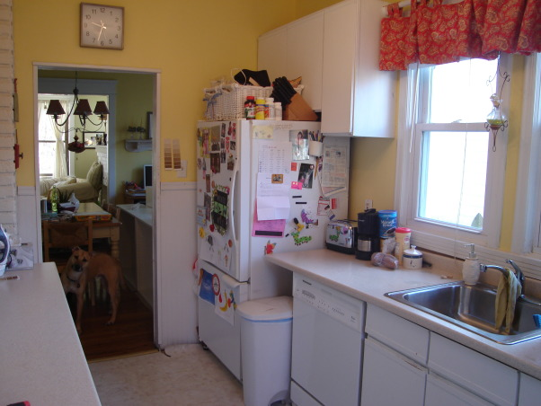 small budget kitchen remodel, 75 year old bungalow home with a small galley kitchen.  Ikea cabinets with silestone countertops and new tile floors update this functional space.  would have loved new stainless steel appliances...maybe later., BEFORE , Kitchens Design