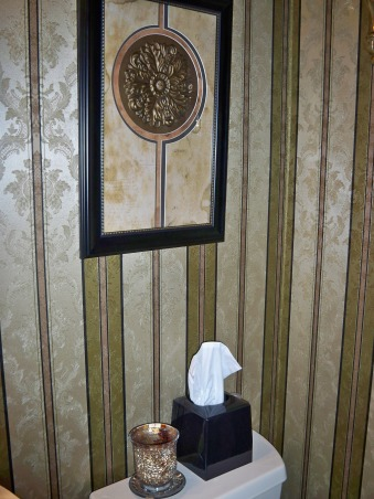Elegant update of our Tiny Powder Room, Our half bath was o.k. it just needed a few special touches.  The fact that we were hosting a Holiday Brunch encouraged me to update this tiny Powder Room ., black tissue holder co-ordinates with the black frame of the picture and the lines in the wallpaperand the gold mosaic candle holder  with the colors in the wallpaper and the picture, Bathrooms Design