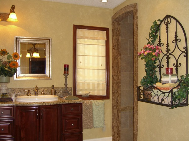 Tuscany Spa Design Master Bath Retreat, After the Cedar Fire damaged our masterbath space in 2003 we reconstructed the space. Wish I had some BEFORE pictures to show the big change to this now Italian Tuscan Valley Spa Suite!, Wall art: Towel holder...   , Bathrooms Design