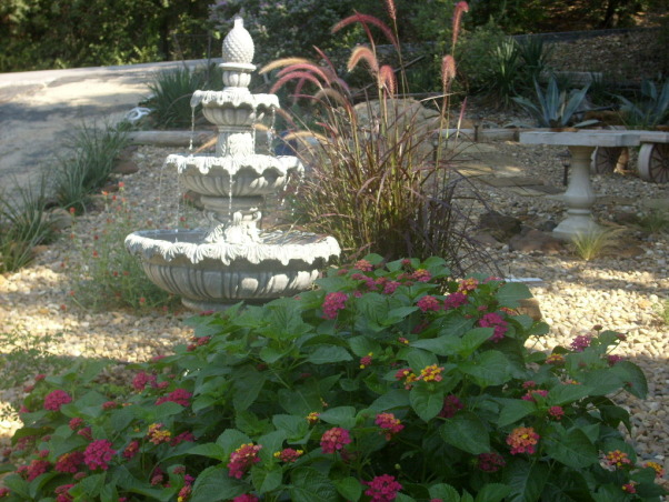 Texas  Pride  rock garden, we started out with the rock wishing welland outhouse and just keeps going!!My husband really did a great job it was 10 tons of rock, Water sounds of a fountain calm you as the Purple Fountain Grass sways in the breese. , Yards Design