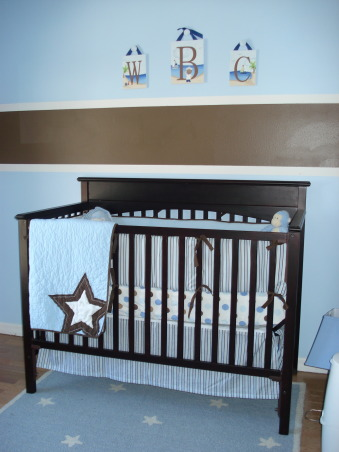 "Welcome Baby Will!, First time posting on RMS! This nursery is for my nephew Will who is due any day now this April! I am living with my brother & sister in law while in grad school so I've been lucky enough to help prepare for the first grandchild & great-grand child out of 24 cousins! There are just a few final touches to add and will post a few more pics when it is all complete! Any helpful suggestion are welcome... especially a cute idea for the window covering!, The theme changed probably 50 times but the blue/brown combo is soothing and not too ""baby""., Nurseries Design"