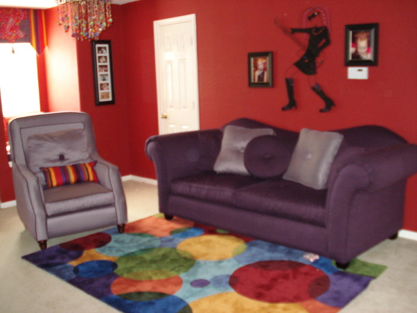 tween girls game room, this is my 6 & 10 yr. olds gameroom/t.v. room. My 10 yr. old begged me to buy the sofa and chair and rug. I decided to make it funky by adding the rock & roll pieces and the colorful chandalier. I think it still needs a few final touches. any ideas?, , Girls' Rooms Design