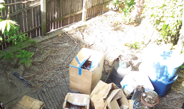 """Cute Courtyard from Old Trash Area, Outdoor space is at a premium in the city and we reclaimed this for use where trash cans used to reside and a rusted bike.  I did the brick in a weekend and left the distressed wall """"au natural"""", BEFORE Pic., Outdoor Spaces"""