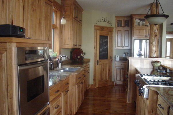 Rustic Kitchen Custom Hickory Cabinets Granite Counter Top Reclaimed