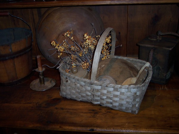 "Country Primitive Dining Room, Here are some pictures of our dining room. I know there is allot to look at...lol But this is the way we like it. I love all the old things....they give me such a ""homey"" feel. We just finished our ""remodel"" on the Dining Room about 6 months ago. Nothing needed to be done but to make this house our home this is what we have done....We add new fixtures boarding up the ceiling & painting the walls & trim. , This basket was appraised & dated at approx 100 years old....Yippee...a prize in any  basket collection!, Dining Rooms Design"
