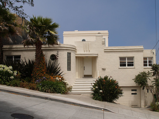 San Francisco 1939 Modern 'Wedding Cake', Here's the front of our 1339 home. This style is often associated with art deco but was at the time considered ultra modern and was a reaction against the overly decorated art deco style., , Home Exterior Design