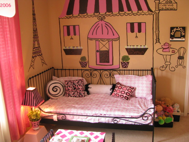 Bonjour! Nursery and Paris themed, When we first put this bed up for my 2 and a half-year old I just knew something was missing. So I decided to test my art skills and do a simple Paris-themed mural behind her bed. Then I kept going and put up street signs for my three girls. My daughter loves playing tea with her teddies and friends. So I thought a French cafe' would be the perfect idea.  It is not perfect but she plays in here so much now so it was well worth it. We have since turned it into a nursery for our new baby girl!, Nurseries Design