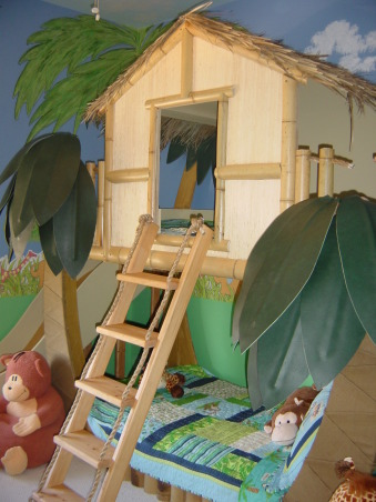 TROPICAL TREE HOUSE/ SURF SHACK THEME BED, TROPICAL TREE HOUSE/ SURF SHACK THEME BED                                                Custom made boys theme bed. This custom theme bunk bed features real bamboo thatching and a custom made slide., Boys' Rooms Design