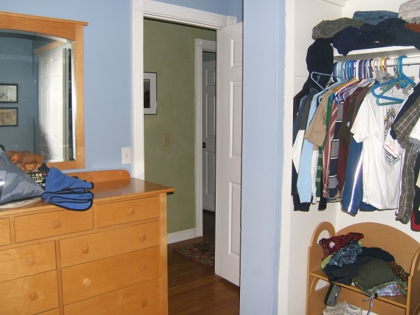 Two boys in a small blue bedroom!, Very small cramped room for two boys ages 8 and 3. There is not room for two beds thus the bunk beds. The room is dark I'm looking for suggestions on how to brighten the room as well as storage ideas for the non-functional closet. Help! I'm a budget-conscious single mom. Help me bring a smile to my sons' faces. Thanks for looking., , Boys' Rooms Design