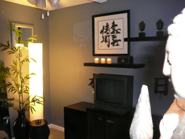 Yoga Room, Our third Bedroom I designed for morning and evening Yoga. Center cabinet (TV on) was a find at a thrift store: $10. I sanded and stained it to conceal the elctronics. The denim blue is calming and unexpected to use with Asian. I will be building risers for the left and right cubes to give the piece a cleaner line., Bedrooms Design
