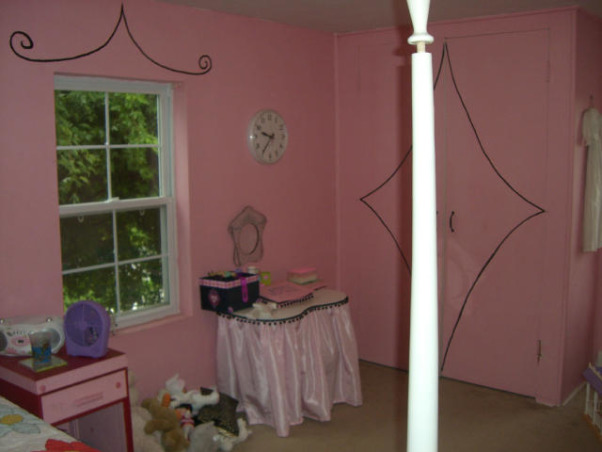pink camo before and after, We put in a window seat and painted a pink camo wall. I made the spread out of bandanas., before, Girls' Rooms Design