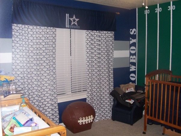 "Dallas Cowboys Nursery, This is our son's nursery.  I wanted something that would grow with him or a place one of the older boys would love when the baby was old enough to move into another room.  My kids absolutely love it!!, These curtains say ""Dallas Cowboys"" all over them with the Cowboys star., Boys' Rooms Design"