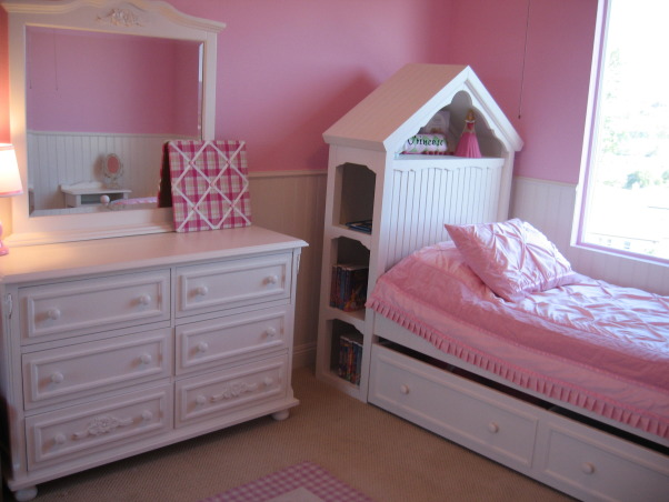 "Princess Pink Room, We let my daughter pick out the pink. A little bright but is perfect for a 4 yr old little princess. The headboard has bookshelves built in and I love her ""make-up vanity."" Last thing to do is put a crystal chandelier instead of the fan. , , Girls' Rooms Design"