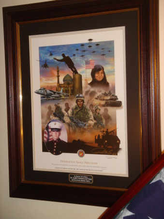 """USMC tribute to our son, Our son Albert was killed in Iraq in January 2006.  Since that time we are attempting to find a new """"normal"""" to our lives.  We are in the process of re-evaluating each room in order to simplify our home.  We recently finished our son's bedroom in time for Veteran's Day 2008.  We strived to keep the room as a tribute rather than a shrine to our fallen Marine., Another image of this photo., Bedrooms Design"""