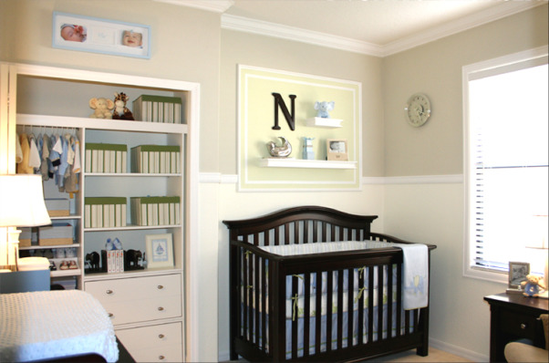 N's Baby Boy Nursery, My husband and I just finished this nursery for our first child due any day now. We painted the entire room and installed all the molding ourselves (chair rail crown molding and molding surrounding the frames and shelves above the crib and dresser). We also added the closet organizer and I hand painted all of the framed paintings to match the PBK bedding. Still waiting on the ottoman that belongs to the glider which should be arriving any day now. , Thank you for all of your kind comments! Just wanted to answer some of your questions about the paint color and furniture brands. We've been busy since little Noah arrived recently! All the paint is by Valspar: top is Milestone (6007-1B Lowe's) bottom is Lemon Chiffon (MS113 Martha Stewart) and the green is Seamist (EB10-4 Eddie Bauer Home). Crib is by Baby Italia (Babies R Us); dresser is by Bonavita (USA Baby) glider is by Shermag (Babies R Us) and the striped boxes are from Ikea.  , Nurseries Design