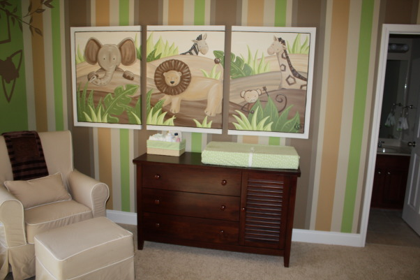 Sawyer's Safari Nursery, We can't wait for our little guy to get here to enjoy his room! We hope he loves the friendly fluffy animals and colorful stripes as much as we do!, The canvases were painted by artist Jessica Rollins from Covington GA.  , Nurseries Design