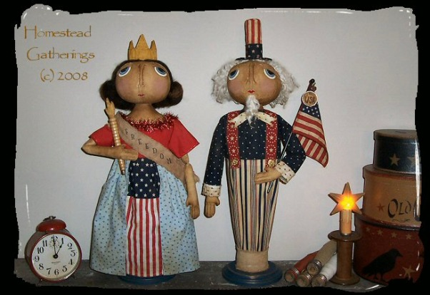 Primitive and Folk Art Creations, These are pictures of some of my folk art primitive creations., This is a pic of my newest patriotic folk art dolls I have for June 2008, Dining Rooms Design