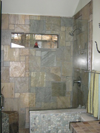 Grotto Bath, Completely gutted bath. Was 8ft ceilings now up to 11 ft. Removed tub and added a shower of  Golden White quartzite tiles with Turquoise River Rock shower floor and wall detail.  It feels if you are showering in a cool cave. Comments?, Bathrooms Design