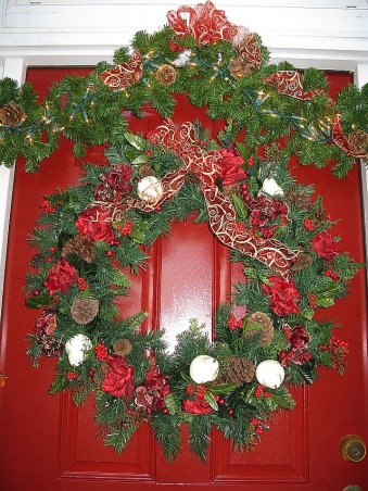Christmas Comes To A Southern Front Porch, This is my Southern Front Porch all decorated for Christmas. I used lighted garland topiaries and a large wreath to welcome guests to my home for the holidays! , Christmas wreath with roses hydrangea pinecones and berries, Porches Design