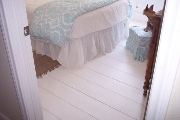 beach cottage guest room wannabe...., I created this guestroom to fulfill my desire to own a beach cottage.  More than a little difficult since we live in the desert!, I got the idea for these wide plank floors from a magazine.  They are wide planks of sanded plywood painted with glossy porch paint.  Very durable and feels good underfoot., Bedrooms Design