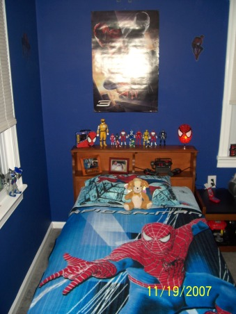 Spiderman room, My little firefighter grew up and passed his room down to my youngest. I had to create him a big boy room with a spiderman theme as requested by him. What started out as his nursery now has grrown with him into a big boy room he is very proud of. Hope you like it. By the way i did the complete transformation in 1 day while he was at school and finished exactly 7 minutes before he got home. Wheeew close., every super hero needs a big boy bed., Boys' Rooms Design
