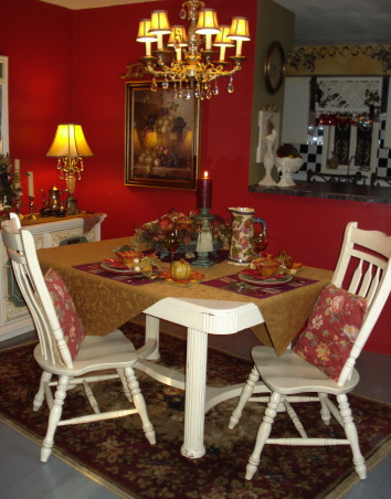 "French Country Dining in ""RED""!, Freshly painted and redecorated French Country dining room!, Autumn is in the air!  Just thought it would be fun to do an Autumn tablescape for my Frenchy ""red"" dining room!  Chari, Dining Rooms Design"