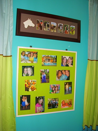 16 year old's bedroom. UPDATED PICTURES!, I redid my room for my 15th birthday. The walls are painted teal (biscay lightened 1 or 2 shades) with a strip of brown above my shelf on one wall. The polka dot comforter is from Target. I ride horses and love them so that really shows through my room like the painting above my bed & my horse frame! My mom & I made my jewelry/ purse boards. My closet doors are completely covered with pictures & words cutout from magazines...I know its pretty crazy but what can i say i'm a teenager!, my bulletin board was completely covered with pictures and it just felt way too much and too crowded to me so i took off A LOT of the pictures and just left up some of my favorite ones., Girls' Rooms Design