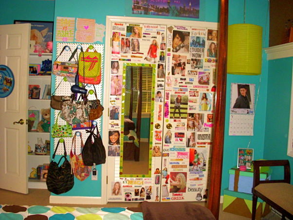 16 year old's bedroom. UPDATED PICTURES!, I redid my room for my 15th birthday. The walls are painted teal (biscay lightened 1 or 2 shades) with a strip of brown above my shelf on one wall. The polka dot comforter is from Target. I ride horses and love them so that really shows through my room like the painting above my bed & my horse frame! My mom & I made my jewelry/ purse boards. My closet doors are completely covered with pictures & words cutout from magazines...I know its pretty crazy but what can i say i'm a teenager!, my closet is covered all over with pictures of my favorite celebrities.to the left a board with all my purses. was made the same way as jewelry board., Girls' Rooms Design