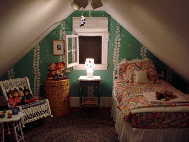 """Grandchildren's Room, Due to an abundance of grandchildren...we took a large closet and turned it into a """"Heidi"""" kind of room for them.  I will show the before and after...and I think you'll agree it works!  They LOVE it!  I painted the design on the wall.  We think it's a very fun space! , Girls' Rooms Design"""