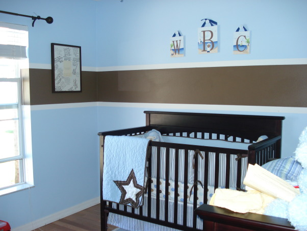 Welcome Baby Will!, First time posting on RMS! This nursery is for my nephew Will who is due any day now this April! I am living with my brother & sister in law while in grad school so I've been lucky enough to help prepare for the first grandchild & great-grand child out of 24 cousins! There are just a few final touches to add and will post a few more pics when it is all complete! Any helpful suggestion are welcome... especially a cute idea for the window covering!, Our dad is the handiest man I know and he came for a visit to help paint the room! We simply marked off the 18inch stripe for the chocolate and then used 2 inch painter's tape and added the color!, Nurseries Design