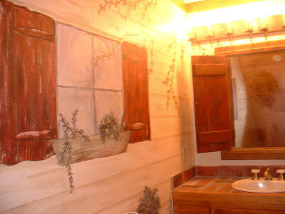 PRIMITIVE Country Painted Bath, Entire home is very primitive country.  Client had me paint guest bath to look as if you were attending your business 'outside' against a lapside(?) house.   Can't remember the term now for that type of panelling.   Anyway fun to create!, , Bathrooms Design