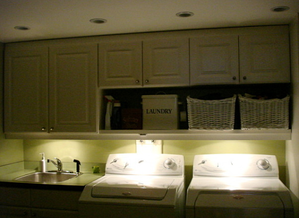 "Prettiest Laundry Room in the World with before pix, I love my laundry room -so efficient that I don't mind doing laundry all the time-""bring it on"" the dirty clothes.  , Mood lighting for laundry. LOL, Garages Design"