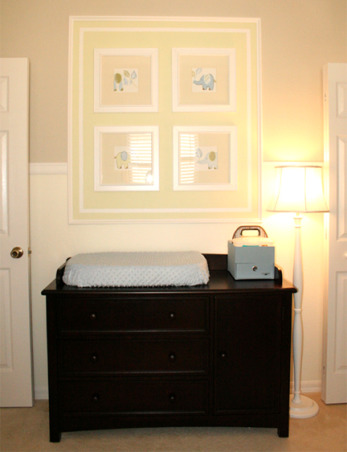 N's Baby Boy Nursery, My husband and I just finished this nursery for our first child due any day now. We painted the entire room and installed all the molding ourselves (chair rail crown molding and molding surrounding the frames and shelves above the crib and dresser). We also added the closet organizer and I hand painted all of the framed paintings to match the PBK bedding. Still waiting on the ottoman that belongs to the glider which should be arriving any day now. , Nurseries Design