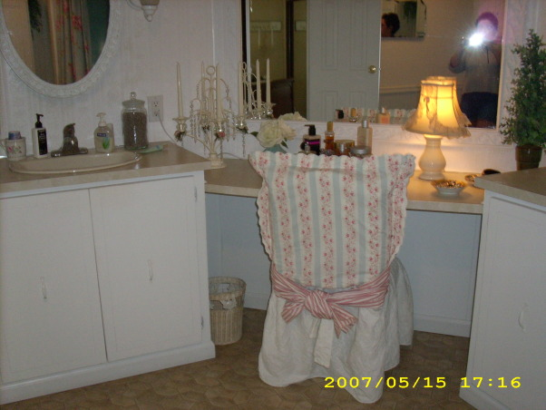 1979 Doublewide Master Bath, I painted everything. Framed out the large mirror added beadboard that I painted a very pale robin egg blue. I couldn't afford a new shower or toilet so I worked with what was there. ( Made lemonade out of lemons) LOL.... , , Bathrooms Design