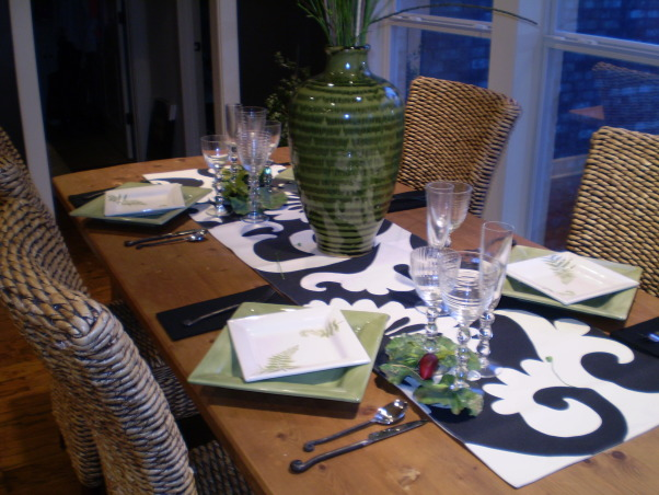 Breakfast Room Table Setting, Breakfast room adjoining Great Room..All done in dark gray and apple green accents, I added a pop of green to all the black and white, Dining Rooms Design
