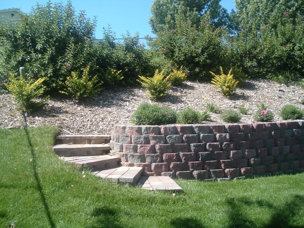 Backyard Hill Makeover : Back Yard on a Slope, Just finished this yard makeover We laid all