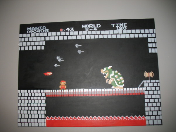 Super Mario Brothers, Classic 80's Super Mario Brothers theme! Includes hand painted canvas of the last level of Super Mario Brothers a hand made quilt of a pixeled Mario and Super Mario wall decals! Lots of work and love!, Close up of the hand painted canvas!, Nurseries Design