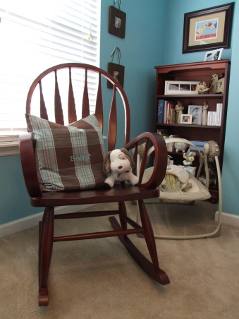 Brody's Room, This room decor was inspired by the prints of one of our favorite artists Stephen Huneck.  We have three dogs and hope that Brody is a dog lover too!, The rocker was a gift from our mothers.  My husband's grandmother monogrammed the throw pillow with Brody's initials.  , Nurseries Design