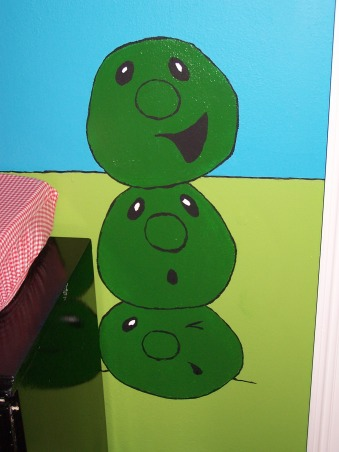 "Veggie Tales Nursery, First baby's nursery! We aren't finding out the sex of the baby until we meet him/her for the first time. We loved the idea of a ""christian"" themed nursery but aren't big fans of Noah's Ark decor so...Veggie Tales it is , Stackable French Peas, Nurseries Design"