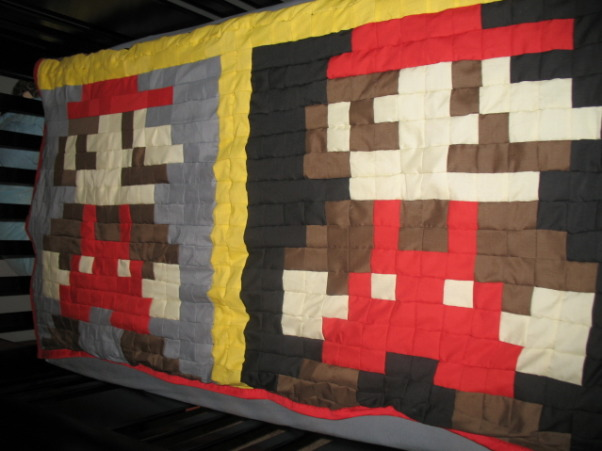 Super Mario Brothers, Classic 80's Super Mario Brothers theme! Includes hand painted canvas of the last level of Super Mario Brothers a hand made quilt of a pixeled Mario and Super Mario wall decals! Lots of work and love!, Hand made Super Mario quilt!, Nurseries Design