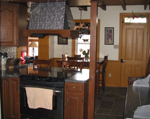 1800's Farmhouse Kitchen Makeover on a budget, A budget redo of an 1800's farm house kitchen. It was 70's retro complete with a yellow formica countertop and white linoleum floor. We wanted to bring a more primitive & period feel to the space., Negative elements we had to work with were long narrow room with little space for setting. We have 6 kids most all grown and host large family gatherings that usually revolve around the kitchen area., Kitchens Design