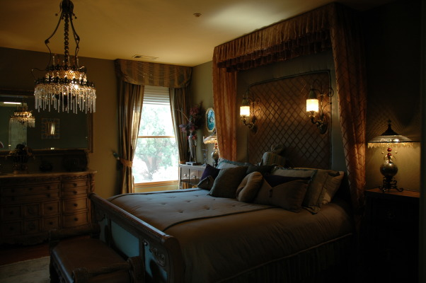 ROMANTIC MASTER BEDROOM, I designed and constructed the bedcreated all the beddingpillowsand drapes., , Bedrooms Design