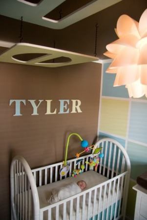 "Modern Baby Boy nursery on a Budget! , We wanted a Modern Boy nursery that looked design quality without the high designer cost.....our total cost including all supplies and furniture was under $800!  The ceiling pieces were cut from  5/8"" plywood and painted to match the block wall.  We gave the look of crown molding by taping and painting to create this illusion.  We were inspired by another design we found and improved upon it  to fit our own style and taste. We used no VOC paint throughout and organic bedding.  , Nurseries Design"