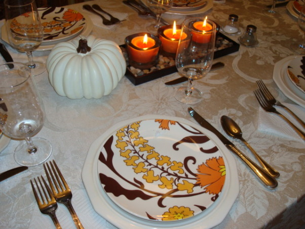Thanksgiving Table Setting, This was our simple Thanksgiving table setting for our family this year.  Just the 6 of us and 2 mastiff dogs :), Dining Rooms Design