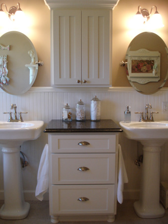 New Master Bath Reno...FINALLY COMPLETE!, Our master bath consists of two rooms. One room with tub and sink next room with shower and toilet. Originally (last picture) we had a huge garden tub and a long vanity with only one sink plus carpet. That room did not function well for us. We found a wonderful and talented carpenter/contractor in the Quincy IL area named Trent Mountain. He made our dreams come true with this new master bath. Double pedestal sinks claw foot tub cabinets granite top pocket door and marble floor!, Bathrooms Design