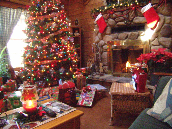 ... christmas, Decorating at Christmas in log home, Living Rooms Design