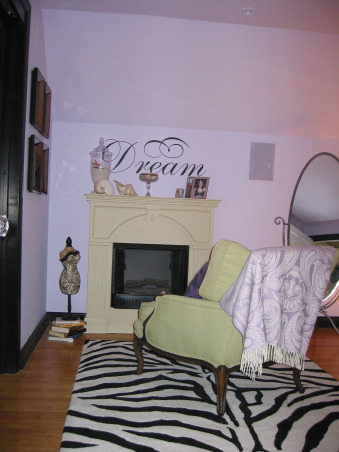 Bedroom, Dormer bedroom with fireplace and zebra print rug, Entering the bedroom you used to look directly at the access to the crawl space. Now the gel can fireplace hides that space but still allows access to it., Bedrooms Design